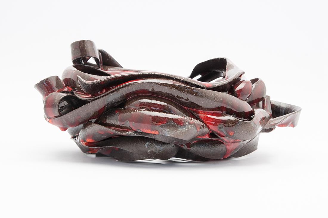 vaso ceramica fasce rosse